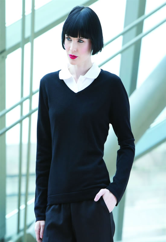 WOMENS 12GG V-NECK JUMPER