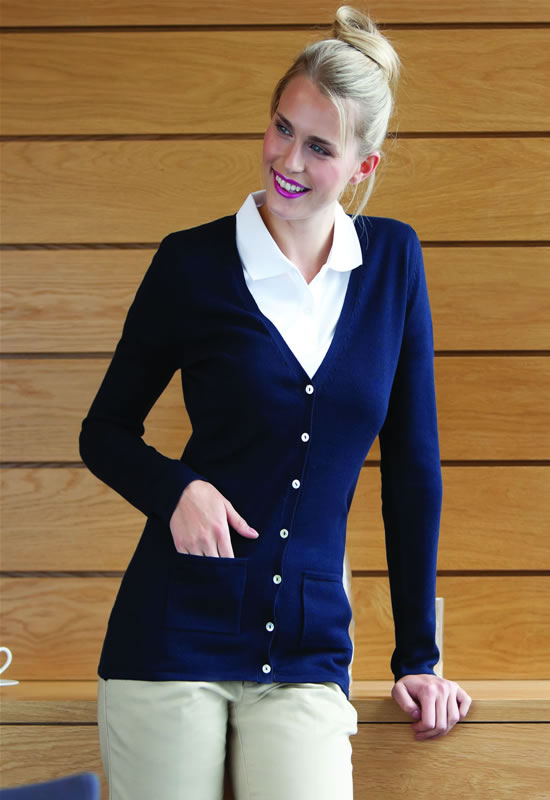 WOMENS V BUTTON CARDIGAN