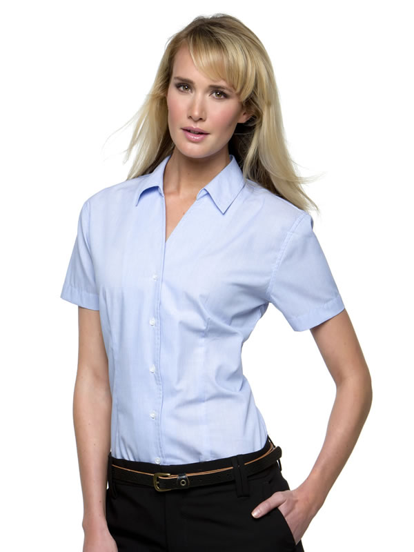 PINSTRIPE BLOUSE SHORT SLEEVED WOMENS