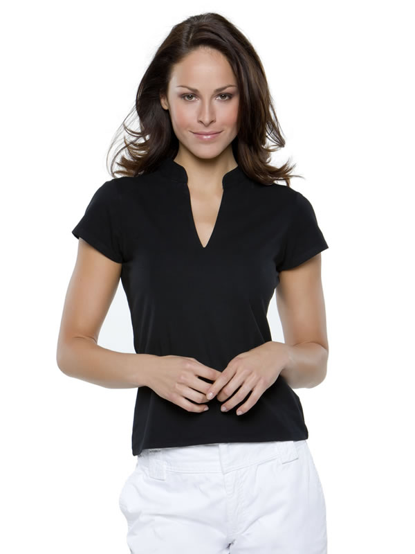 CORPORATE SHORT SLEEVE TOP 'V'NECK MANDARIN COLLAR
